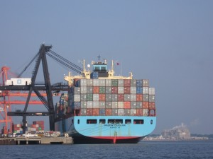 Container ship can be serious pollution source.