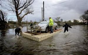 Burrowbridge on the Somerset Levels during the 2014 floods