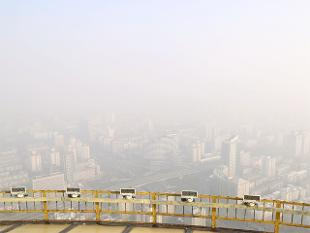 A scene from Beijing shrouded in heavy smog.