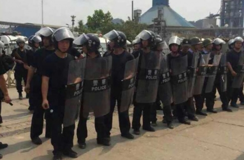 Chinese police face off against protesters in Langtang. Photo: SCMP Pictures