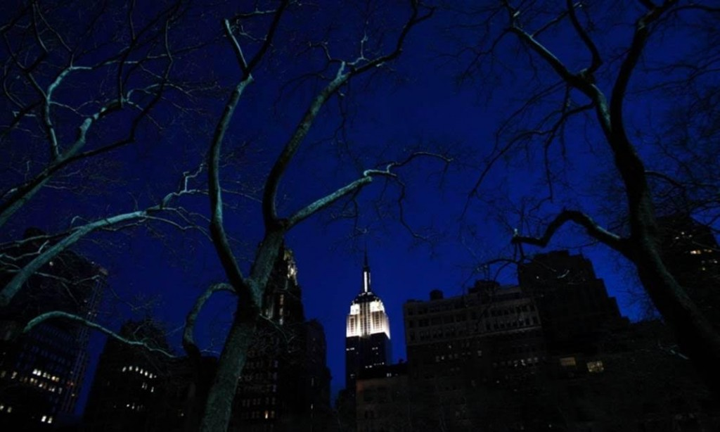 The Empire State Building is seen lit up before Earth Hour in New York, during which lights were turned off for one hour to show support for renewable energy. Photograph: Eric Thayer/Reuters