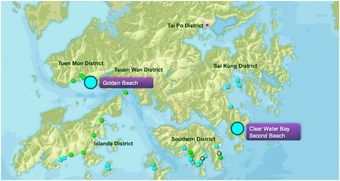 EPD map with contaminated beaches highlighted. Photo: beachwq.gov.hk.