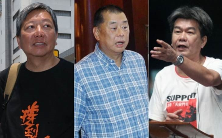 (Left to right) Labour Party legislator Lee Cheuk-yan, media tycoon Jimmy Lai Chee-ying and legislator Leung Kwok-hung.