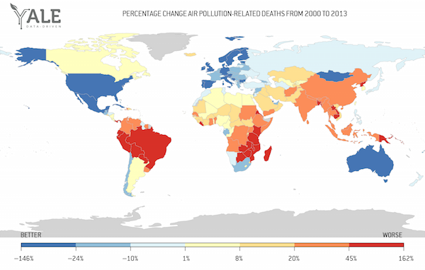 PERCENTAGE DIFFERENCE BETWEEN AIR POLLUTION-RELATED DEATHS IN 2000 AND 2013. DATA SOURCE: GLOBAL BURDEN OF DISEASE (GDB)