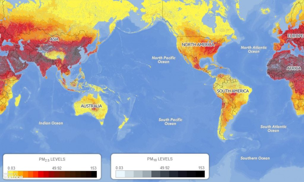 GLOBAL EXPOSURE (IN MICROGRAMS PER CUBIC METER) TO FINE PARTICULATE POLLUTION (PM.5).