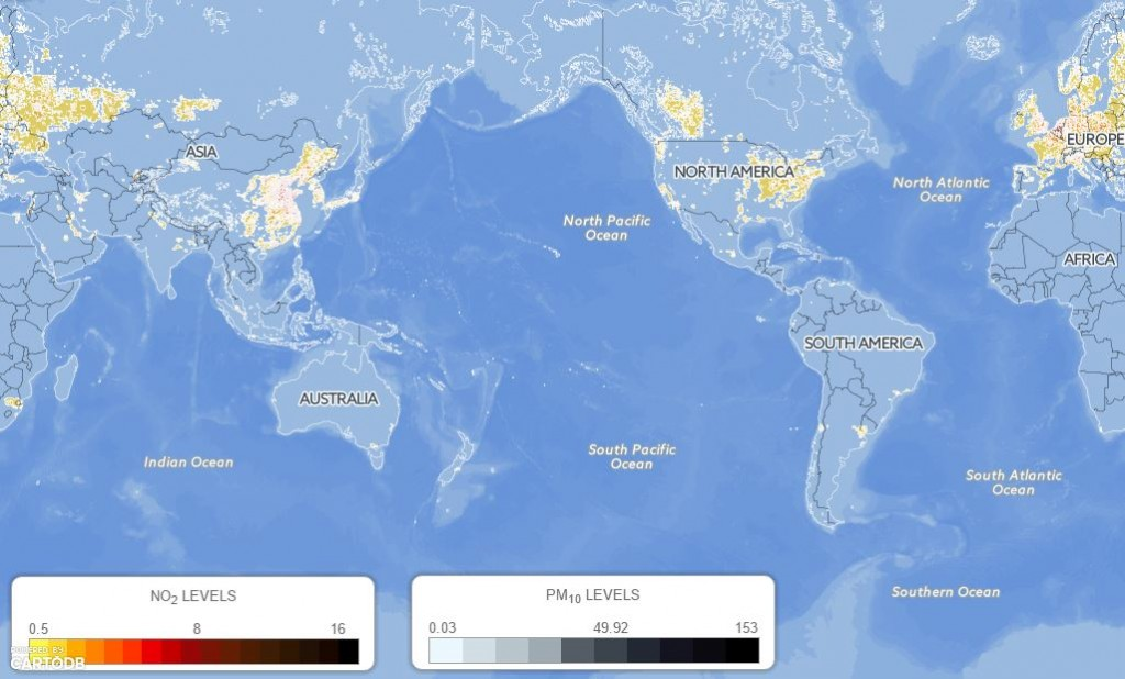 GLOBAL EXPOSURE (IN PPM) TO NITROGEN DIOXIDE (NO2).