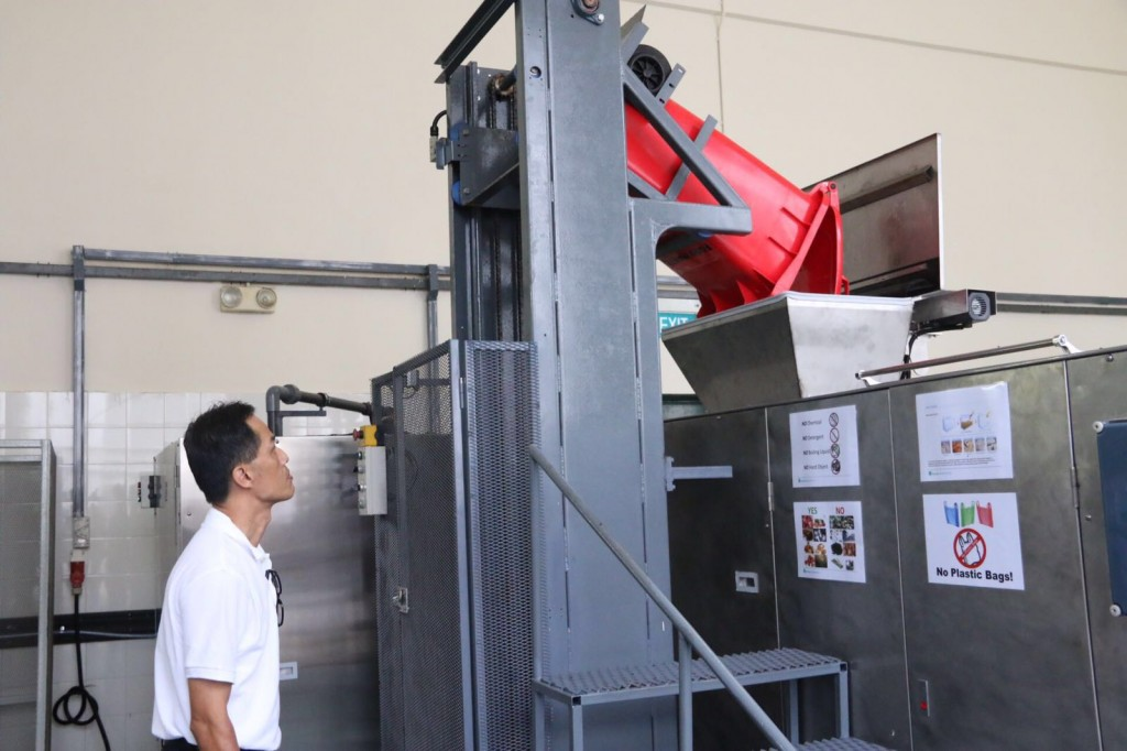 The Eco-Wiz food waste recycling machine. (Photo: Sherlyn Goh)