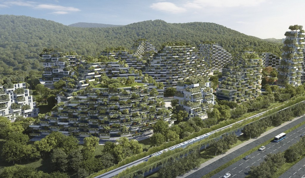 An artist's impression of the world's first forest city, currently under construction in Liuzhou, China. Photo: Stefano Boeri Architects