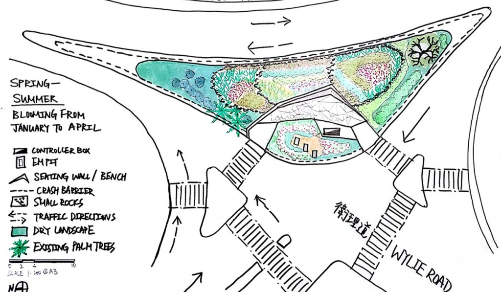 A design drawing for the traffic island rain garden at Wylie Road in Ho Man Tin.
